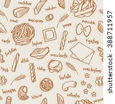 seamless outline drawing pasta... | Shutterstock .eps vector #388711957
