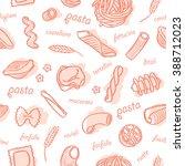 seamless pasta pattern  | Shutterstock .eps vector #388712023