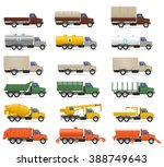 set icons trucks semi trailer... | Shutterstock . vector #388749643