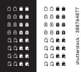 shopping bag icons on black and ...
