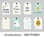 easter gift tags with cute... | Shutterstock .eps vector #388794883