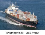 ship with containers aerial