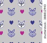 animal hipster pattern  | Shutterstock .eps vector #388812943
