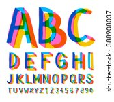 creative colorful alphabet and... | Shutterstock .eps vector #388908037