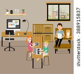 people working at home with... | Shutterstock .eps vector #388915837