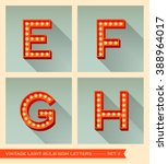 vintage light bulb sign letters ... | Shutterstock .eps vector #388964017