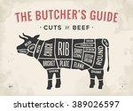 cut of beef set. poster butcher ...   Shutterstock . vector #389026597
