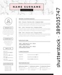 resume template with marble... | Shutterstock .eps vector #389035747