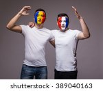 football fans of france and... | Shutterstock . vector #389040163