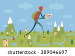 a man walking outdoor with... | Shutterstock .eps vector #389046697