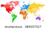 colored world map   borders ... | Shutterstock .eps vector #389057527