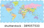 colored world map   borders ... | Shutterstock .eps vector #389057533