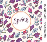 floral pattern in doodle style... | Shutterstock .eps vector #389058673