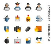 hacker flat color icons set of... | Shutterstock .eps vector #389066227