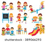 kindergarten flat icons set... | Shutterstock .eps vector #389066293
