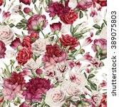 seamless floral pattern with... | Shutterstock . vector #389075803