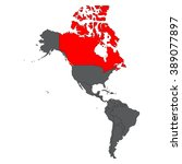 canada red map on gray america... | Shutterstock .eps vector #389077897