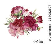 bouquet of peonies  watercolor  ... | Shutterstock . vector #389082577