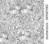 doodle flowers seamless pattern.... | Shutterstock .eps vector #389087083