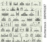vector line world city illustration sign building set collection