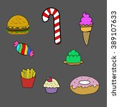 fast food icon set on grey... | Shutterstock . vector #389107633