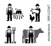 vector black farmer icon on... | Shutterstock .eps vector #389112367