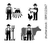 vector black farmer icon on... | Shutterstock .eps vector #389112367