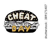 cheat day.  hamburger with... | Shutterstock .eps vector #389171407