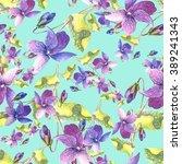 violet pansy seamless pattern.   Shutterstock . vector #389241343