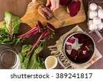 dyeing easter eggs with natural ... | Shutterstock . vector #389241817