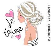 beautiful cute girl je taime i...   Shutterstock .eps vector #389248057