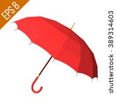 opened red umbrella isolated on ... | Shutterstock .eps vector #389314603