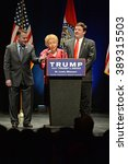 Small photo of Saint Louis, MO, USA - March 11, 2016: Phyllis Schlafly salutes Donald Trump supporters at the Peabody Opera House in Downtown Saint Louis