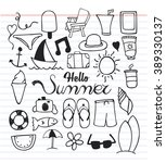 set of summer icon with doodle... | Shutterstock .eps vector #389330137