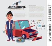 happy auto mechanic character... | Shutterstock .eps vector #389355517