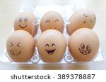 funny eggs with painted face in ... | Shutterstock . vector #389378887