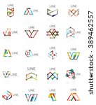 set of linear abstract logos ... | Shutterstock .eps vector #389462557