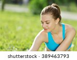 girl practicing stretching... | Shutterstock . vector #389463793