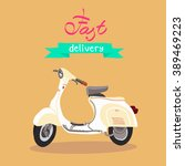 retro scooter isolated. fast... | Shutterstock .eps vector #389469223