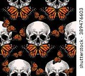 skull and orange butterfly on... | Shutterstock .eps vector #389476603