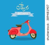 retro scooter isolated. fast... | Shutterstock .eps vector #389481907