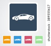 square flat buttons icon of car.... | Shutterstock .eps vector #389555617