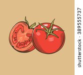 tomatoes in vintage style.... | Shutterstock .eps vector #389555737