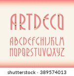 deco vintage poster typeface ... | Shutterstock .eps vector #389574013