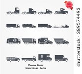 vector trucks icons set | Shutterstock .eps vector #389574493