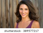 beautiful brunette model head... | Shutterstock . vector #389577217