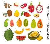 exotic tropical fruits vector... | Shutterstock .eps vector #389586463