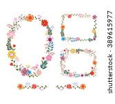 vector flowers set. beautiful... | Shutterstock .eps vector #389615977