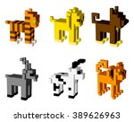 animal icons  3d pixel art  ...