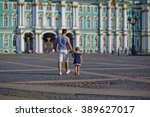 a father with his son and... | Shutterstock . vector #389627017